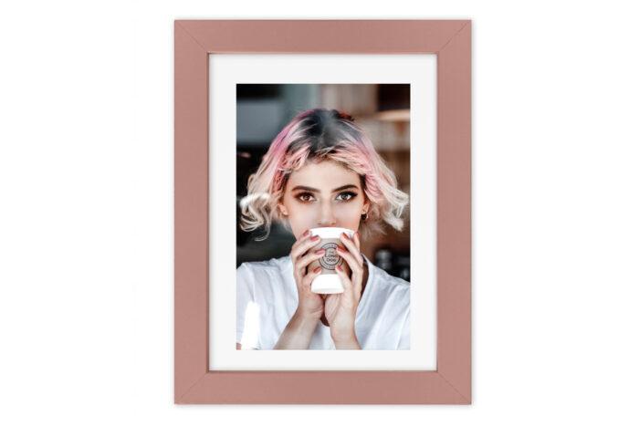 ramka fotoramka na zdjęcie róż różowa szkło passe partout