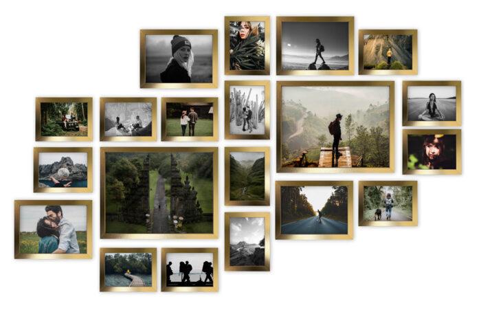 Multirama Lizbona złota duży zestaw ramek fotoramki galeria ścienna