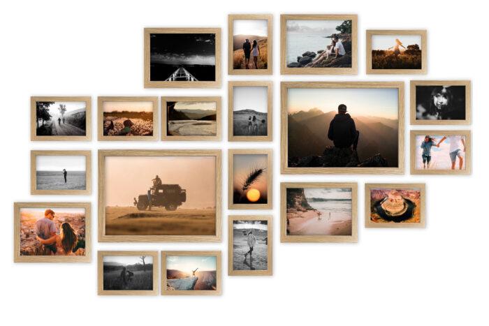 multirama Lizbona jasny dąb duży zestaw ramek na zdjęcia
